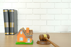 Small house with judge's gavel